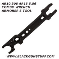 """combo wrench serves both the 5.56 & .308 AR platforms in one convenient, easy to use tool. This wrench aids in the assembly, tightening, or removal of barrel nuts, muzzle brakes, barrel extensions, castle nuts, delta ring assemblies, and hex bolts/screws. Uniquely designed, it offers extreme versatility as it features the ability to build, service, and maintain both your 5.56 AR-15 and .308 AR-10 rifles. The wrench includes the following features: .223/5.56 Barrel nut, 1 1/6"""" NSR barrel nut .223/5.56 Free float barrel nut .308 Free Float barrel Nut 3/4"""" Muzzle brake .223/5.56 Barrel extension .308 Barrel extension Castle nut wrench AR-15 Delta ring assembly removal tool 1/4"""" Hex 7/16"""" Hex 1/4"""" Driver 1/2"""" Driver"""