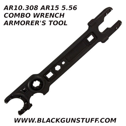 "combo wrench serves both the 5.56 & .308 AR platforms in one convenient, easy to use tool. This wrench aids in the assembly, tightening, or removal of barrel nuts, muzzle brakes, barrel extensions, castle nuts, delta ring assemblies, and hex bolts/screws. Uniquely designed, it offers extreme versatility as it features the ability to build, service, and maintain both your 5.56 AR-15 and .308 AR-10 rifles. The wrench includes the following features: .223/5.56 Barrel nut, 1 1/6"" NSR barrel nut .223/5.56 Free float barrel nut .308 Free Float barrel Nut 3/4"" Muzzle brake .223/5.56 Barrel extension .308 Barrel extension Castle nut wrench AR-15 Delta ring assembly removal tool 1/4"" Hex 7/16"" Hex 1/4"" Driver 1/2"" Driver"