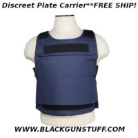 "Discreet Plate Carrier with external pocket for hard or soft body armor. Wrap around hook and loop fastener cummerbund and adjustable shoulder straps. Fits: Medium to 2XL. Front panel measures 16.5""W X 16.0""H (from bottom of neck cut). Rear panel measures 21.5""W X 18.5""H (from bottom of neck cut). Exterior body armor pockets for hard/soft plates/panels. Exterior body armor pockets will accommodate 11""W X 14""H soft armor panels or 11""W X 14""H X 1""D hard armor plates. Inside the armor pockets includes a height strap with hook and loop fasteners to adjust how high/low the smaller armor plate/panel sits inside the pocket. Maximum cummerbund extension fit is 57"" Adjustable hook and loop fastener 2"" shoulder straps. For adjusting how high/low the plate carrier sits on the torso. 2""H X 9""L Loop fasteners sewn to the front and rear panels for name, unit, or morale patches."