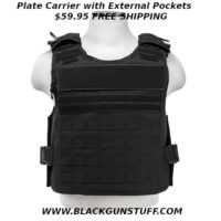 "Plate Carrier with easy to access external hard plate pockets. This plate carrier has breathable mesh inner pockets for soft body armor panels. The inner pockets feature a pass-through shoulder opening for soft body armor with adjustable shoulder straps to pass through from the front panel to the back panel. On the outside of the front and back panels are easy to access external hard body plate armor pockets. One side of the external pockets has a full length heavy duty zipper and a top flap with hook and loop fasteners. This allows the wearer to quickly and easily insert Level III or Level IV hard plates, when the situation requires it, to quickly upgrade their protection level. The external pockets will accommodate a pair of standard 10""X 12"" hard plates or up to a pair of 11"" X 14"" hard plates. Adjustable for length 2"" side straps with large plastic buckles that can be extended out to 58""L (61""L for 2XL+). The quick connect buckles allow you to quickly and easily get the plate carrier onto your body. Quick connect buckles and the adjustable strap are positioned for easy access while being worn. PALs webbing on the front & back panels allows the attachments of MOLLE accessories like holsters, magazine pouches, radio/utility pouches, and other essential gear. Adjustable for length Shoulder straps with large heavy duty quick connect buckles with hook and loop fasteners. Includes two padded shoulder covers with PALs webbing, hook and loop fasteners, and loops for communications cabling routing. The top of the front and rear panels feature a 12.25""W X 2.75""H loop fastener patch areas. The top two PALs webbing rows on the front panel have loop fasteners and the rear panel has a 12.5""W X 2""H loop fastener patch area just under the larger patch area. This allows the user to place Department/Unit patches, name tapes, and moral patches to their plate carrier. Heavy Duty drag handle on the top of the rear panel. Made with tough and durable PVC material that is water and chemical resistant. Double and re-enforcement cross stitching in critical areas."