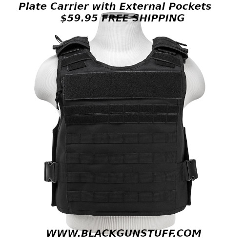 """Plate Carrier with easy to access external hard plate pockets. This plate carrier has breathable mesh inner pockets for soft body armor panels. The inner pockets feature a pass-through shoulder opening for soft body armor with adjustable shoulder straps to pass through from the front panel to the back panel. On the outside of the front and back panels are easy to access external hard body plate armor pockets. One side of the external pockets has a full length heavy duty zipper and a top flap with hook and loop fasteners. This allows the wearer to quickly and easily insert Level III or Level IV hard plates, when the situation requires it, to quickly upgrade their protection level. The external pockets will accommodate a pair of standard 10""""X 12"""" hard plates or up to a pair of 11"""" X 14"""" hard plates. Adjustable for length 2"""" side straps with large plastic buckles that can be extended out to 58""""L (61""""L for 2XL+). The quick connect buckles allow you to quickly and easily get the plate carrier onto your body. Quick connect buckles and the adjustable strap are positioned for easy access while being worn. PALs webbing on the front & back panels allows the attachments of MOLLE accessories like holsters, magazine pouches, radio/utility pouches, and other essential gear. Adjustable for length Shoulder straps with large heavy duty quick connect buckles with hook and loop fasteners. Includes two padded shoulder covers with PALs webbing, hook and loop fasteners, and loops for communications cabling routing. The top of the front and rear panels feature a 12.25""""W X 2.75""""H loop fastener patch areas. The top two PALs webbing rows on the front panel have loop fasteners and the rear panel has a 12.5""""W X 2""""H loop fastener patch area just under the larger patch area. This allows the user to place Department/Unit patches, name tapes, and moral patches to their plate carrier. Heavy Duty drag handle on the top of the rear panel. Made with tough and durable PVC material that is water and che"""