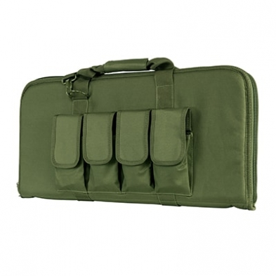 """Padded 2960 Series Gun Case designed for AR & AK Pistol, Subguns, AOW, and some folding guns that are less than 28"""" in overall length. Rectangular Padded Gun Case. Exterior dimensions are 28.0"""" L X 13.0"""" H. Four External Rifle Magazine Pouches with individual magazine flaps with hook and loop fasteners. Heavy Duty zippers that have metal zippers that can be locked with a small pad lock. Pad lock not included. Padded carry handle straps and a shoulder sling is included. Made with tough and durable PVC material that is water and chemical resistant."""